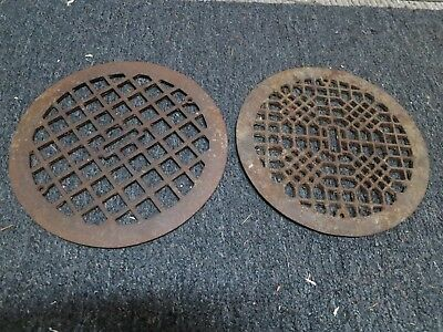 2 Cast Iron grate/vent covers round WALL FLOOR