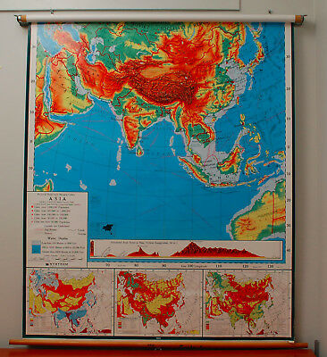 Map Of Asia Middle East.Vintage Nystrom Pull Down Color Relief Map Asia Middle East