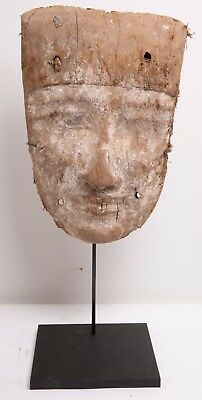 Ancient Egyptian Mummy Wood Mask c.664-332 BC. Size 14 inches high x 9 inch