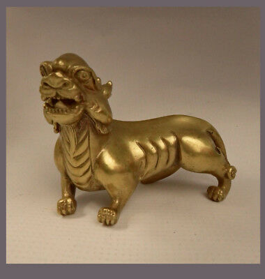 Fine Chinese Gilt Bronze Scroll Weight (420 gr.) Of A Mythological Beast 11cm L
