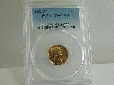 1953-S PCGS MS66+RD 1C Lincoln Wheat Cent Uncirculated Certified EC0446