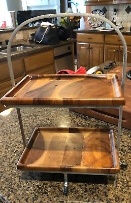 Metal and wood decorative holder with two trays. Excellent condition