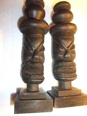 2 Vintage Hand Carved Wooden Tiki Candlesticks - Free Shipping