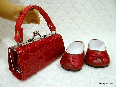 """2pc BURGUNDY Flats w/Bow DOLL SHOES & Textured PURSE SET fits 18"""" AMERICAN GIRL"""