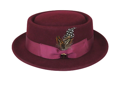 Mens Bruno Capelo Dress Hat Australian Wool Crushable Pork Pie Jazz Burgundy New