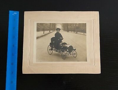 Original Cabinet Card Photo - Boy Riding in Antique Pedal Car - January, 1908
