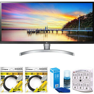 """LG 34"""" 21:9 Ultra Wide FHD IPS LED Monitor w/ HDR 10 2018 Model+Cleaning Bundle"""