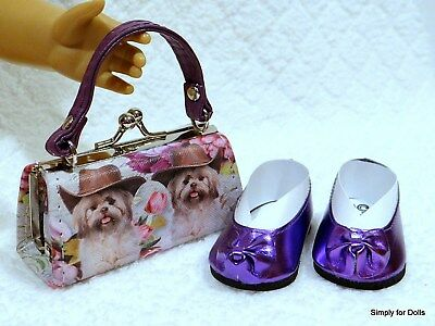 """2pc PURPLE Puppy DOLL SHOES & Clasp PURSE SET fits 18"""" AMERICAN GIRL DOLL"""