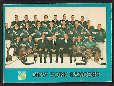 1962-63 Topps Nhl Hockey #65 New York Rangers Team Card