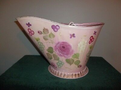 Vintage Chic Pink Handpainted Wedding Dedor Bucket Pail Flower Can Metal Garden