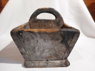 Primitive Antiques Old Paint Divided Tote Tool Box Handle AAFA Grungy