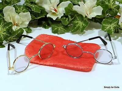 """Set 2 GOLD & SILVER Wire-Rimmed DOLL EYE GLASSES w/ CASE fits 18"""" AMERICAN GIRL"""