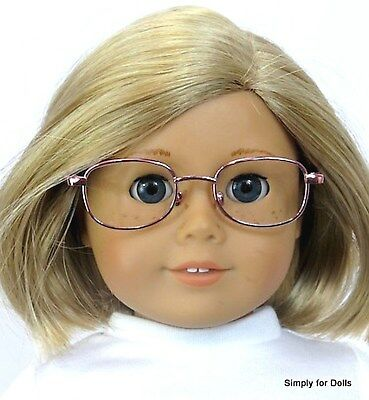 """PINK Wire Rimmed DOLL EYE GLASSES Eyeglasses fit 18"""" AMERICAN GIRL Doll"""
