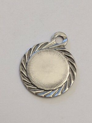 304 Stainless Steel Flat Round Blank Stamping Tag Pendant, 15x12x.5mm, Hole 1.4m