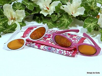 """2-Pair HOT PINK & WHITE Acrylic DOLL SUNGLASSES w/CASE fits 18"""" AMERICAN GIRL"""