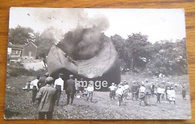 Vintage Hot Air Balloon Explosion Photo Postcard Unused