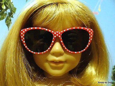 """RED /& WHITE Polka Dot DOLL SUNGLASSES fits 18"""" AMERICAN GIRL Doll Clothes"""