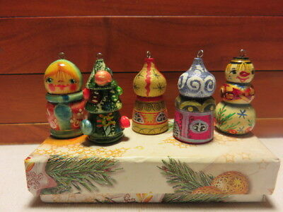 GORGEOUS SET OF 5 Vintage  Wood  RUSSIAN ~CHRISTMAS ORNAMENTS IN BOX~H. PAINTED