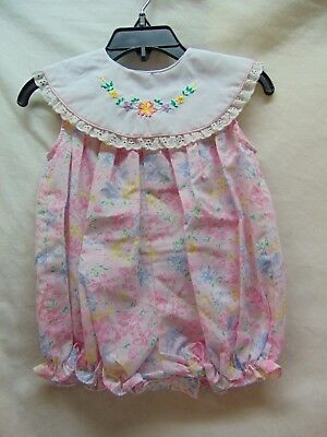 **Vintage** Baby Girl Size 6/9 Months Pink Floral One Piece by Small Steps