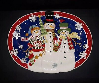 "Fitz & Floyd Classics ""Frosty Friends"" Christmas Oval Serving Platter 18"" X 12"""