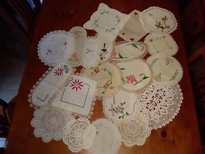 VINTAGE Doileys hand worked, crocheted edges , 20 vintage all hand worked