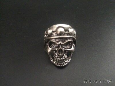 EXQUISITE OLD TIBET SILVER COPPER HANDMADE SKULL vstatue MAN RING COLLECTION RN
