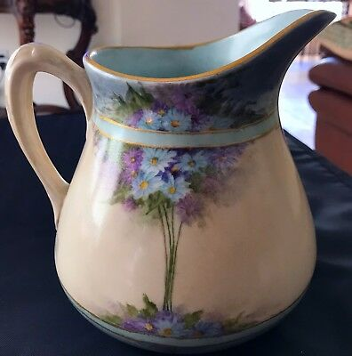 STUNNING* 1880s GDA HAVILAND LIMOGES FRANCE HAND PAINTED PITCHER WILD FLOWERS