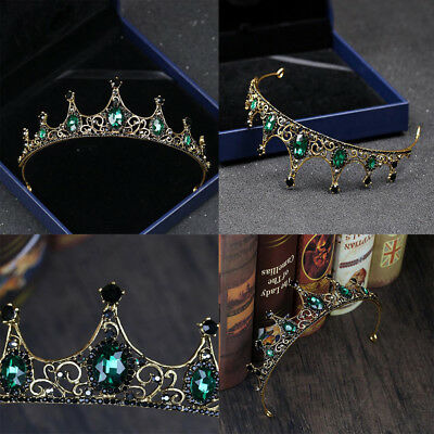 Baroque Wedding Bridal Tiara Vintage Queen Green Crystal Crown Headband Handmade