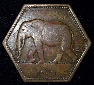1943, 2 Francs from the Belgian Congo. No Reserve!!!