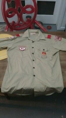 Vintage 90s Boy Scouts Shirt Mens Large MD Troop 944 Flag Patches Costume