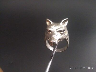 COLLECTION EXQUISITE OLD TIBET SILVER COPPER HANDMADE wolf  vstatue MAN RING