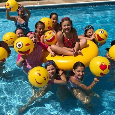 "12"" Emoji Inflatable Beach Balls 12pcs Beach Toy Ball Inflatable Bouncers"