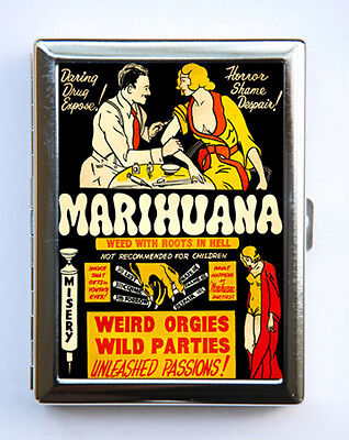 Vintage Marijuana Poster Cigarette Case Wallet Business Card Holder pulp weird