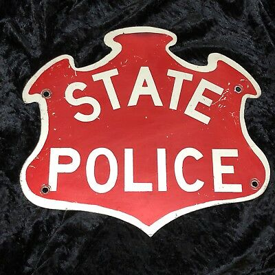 Vintage Red White Connecticut State Police Car Cruiser Cloverleaf Old Sign Plate