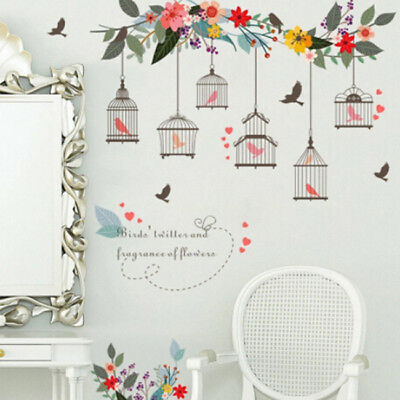 Removable Wall Stickers Cartoon Flowers Bird Cage Vine Chart DIY Room Decor B
