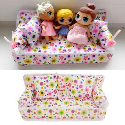 UK Mini Barbie Doll Sofa Floral Toy Plush Stuffed Furniture Chair With 2 Pillows