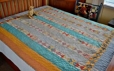 Antique Hand Stitched Country Quilt Calico and Homespun