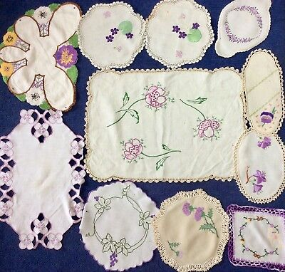 VINTAGE Hand Embroidered Lilac and Mauve Shades, Doilies Hand worked 11 items