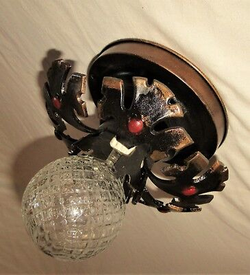 Vtg Deco Gothic Cast Metal Flush Mount Chandelier Ceiling Fixture 1930's