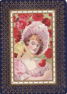 """""""lady In Bonnet"""" Vintage """"wide"""" Playing Card Single - Gold Filigree  Border Mint"""