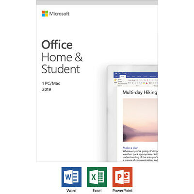 Microsoft Office Home and Student 2019 For 1 User  - For Windows or Mac -  One t
