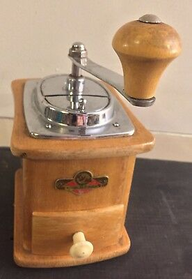 Vtg MCM Blonde Wood Coffee Crank Grinder Drawer Kym Mokka FREE US SHIPPING