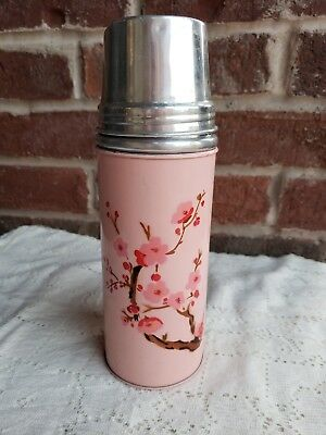 "Vintage PINK thermos cherry blossoms 9"" aluminum lid cup silver glass lining"