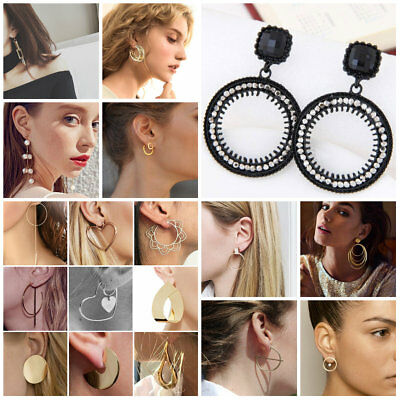 Gold Silver Plated Circle Round Ball Pearl Geometric Charm Drop Dangle Earrings