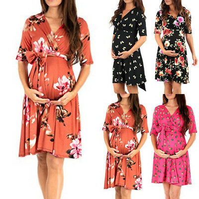 Pregnant Women Maternity Half Sleeve Casual Dress Floral V Neck Clothes Sundress