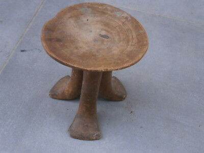 Antique Vintage Wooden Three Legged Stool Chair