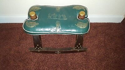 Antique Camel Saddle w/ Brass Bell- Egyptian Artwork on Leather - Brass Accents