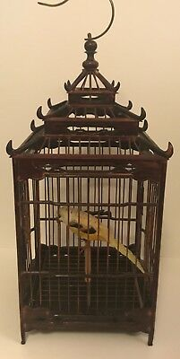 ANTIQUE JAPANESE BAMBOO WICKERWORK RECTANGLE SHAPED BIRD CAGE JAPAN 40's 50's
