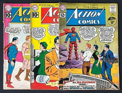 Action Comics Lot Issues #279, 282 & 283 Lower Grades