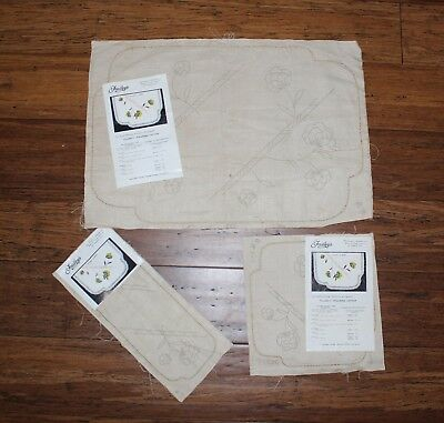 Rare VTG Traced linen Exceptional -3 Piece Set - Faultleys design # 1826 .